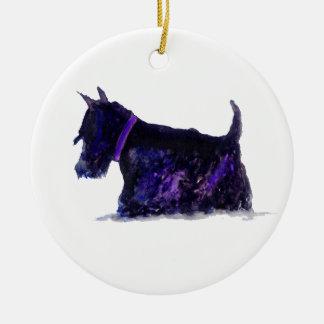 Scottie Dog Round Ceramic Decoration