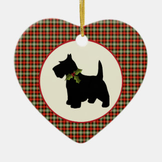 Scottie Dog Scotch Plaid Christmas Ceramic Heart Decoration