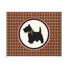 Scottie Dog Scotch Plaid Christmas Holiday Dog Canvas Print