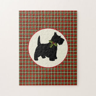 Scottie Dog Scotch Plaid Christmas Jigsaw Puzzle