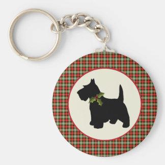 Scottie Dog Scotch Plaid Christmas Key Ring