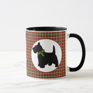 Scottie Dog Scotch Plaid Christmas Mug