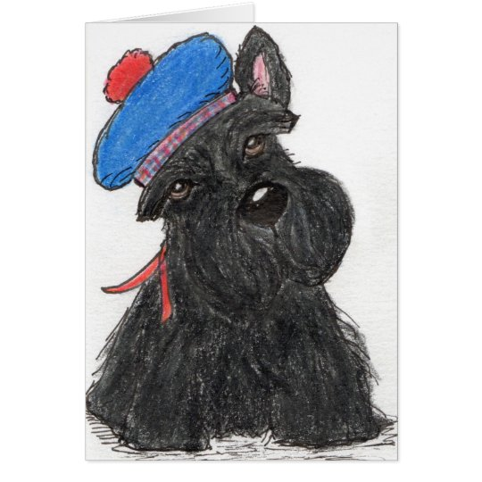 Scottie Dog Scottish beret greetings card birthday