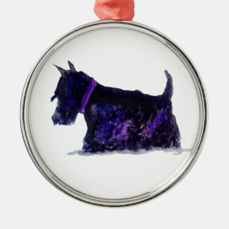 Scottie Dog Silver-Colored Round Decoration