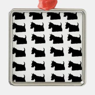 Scottie Dog Silver-Colored Square Decoration