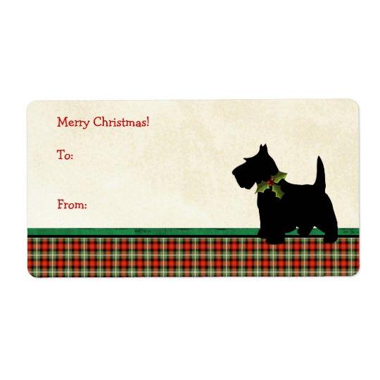 Scottie Dog Traditional Plaid Christmas Custom Shipping Label