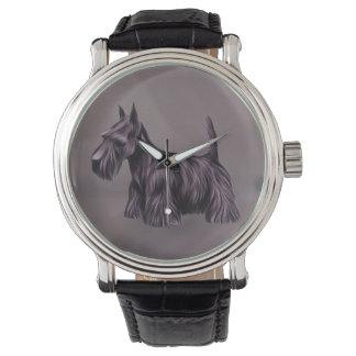 Scottie Dog Vintage Leather Strap Watch