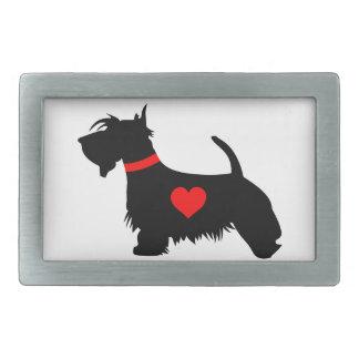 Scottie Dog with heart Belt Buckle