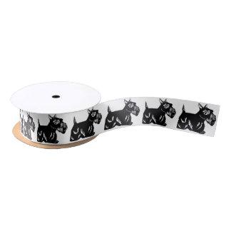 Scottie Dogs Black and White Satin Ribbon
