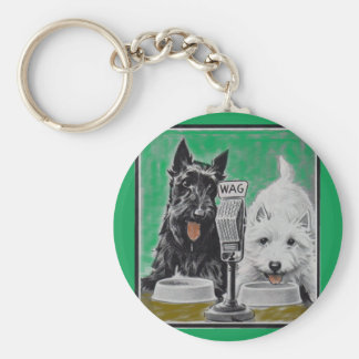Scottie dogs Blackie and Whitie on the radio Basic Round Button Key Ring