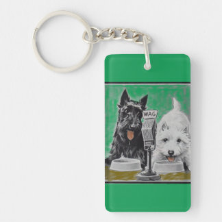 Scottie dogs Blackie and Whitie on the radio Double-Sided Rectangular Acrylic Key Ring