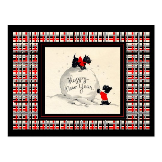 Scottie dogs happy new year postcard