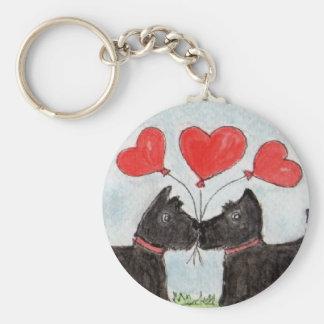Scottie dogs hearts watercolour keychain birthday