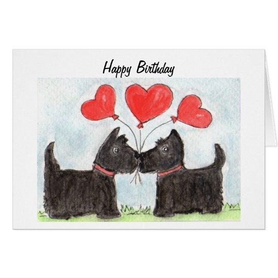 Scottie Dogs Scottish Terrier art Birthday Card