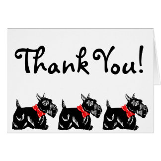 Scottie Dogs with Red Bows Thank You Card