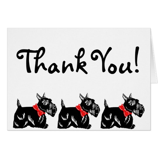 Scottie Dogs with Red Bows Thank You Note
