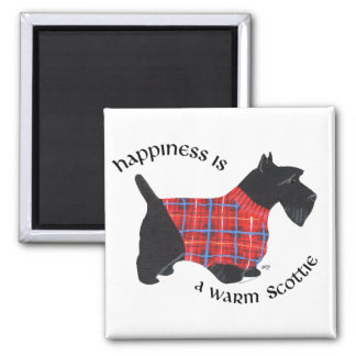 Scottie in Red & Blue Plaid Sweater Square Magnet