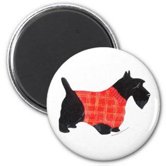 Scottie in Red Plaid Sweater 6 Cm Round Magnet