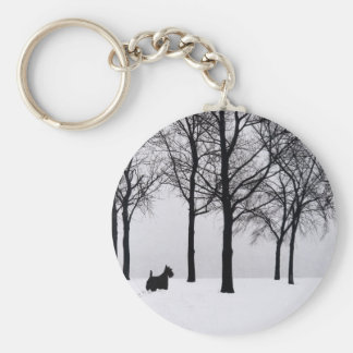 Scottie in Snowy Woods Key Ring