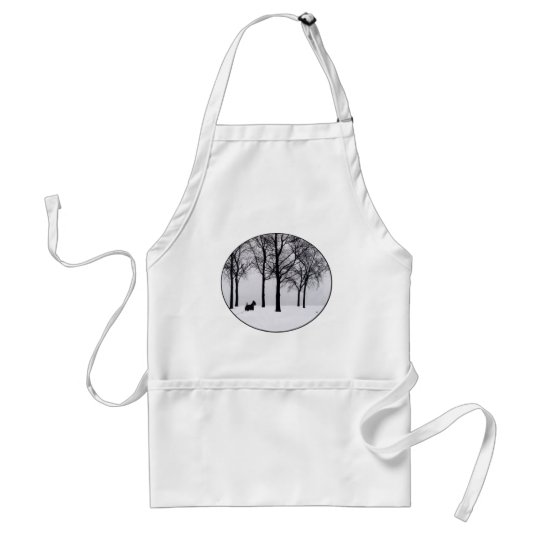 Scottie in Snowy Woods Standard Apron