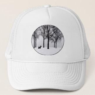 Scottie in Snowy Woods Trucker Hat