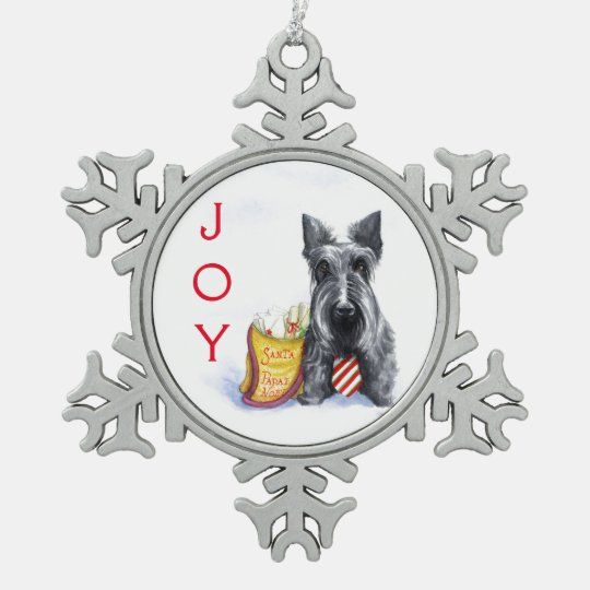 Scottie letters to Santa Snowflake Pewter Christmas Ornament