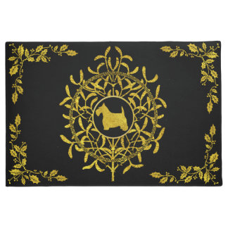 Scottie Mistletoe & Holly Personalize Doormat