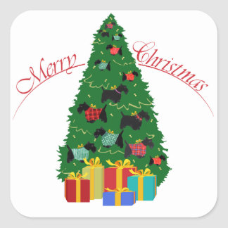Scottie Ornaments Christmas Tree Square Sticker