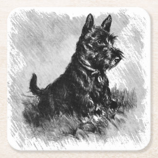 Scottie Puppy Charcoal Style Print Square Paper Coaster
