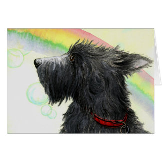 Scottie rainbow and bubbles greeting card