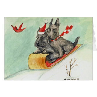 """Scottie Sleigh Ride"" Dog Art Christmas Cards"