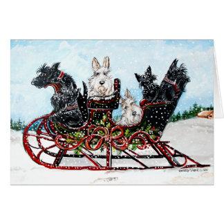 Scottie Sleigh Ride Greeting Card