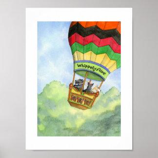 Scottie trio hot air ballooning poster