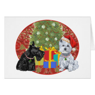 Scottie & Westie Christmas Card