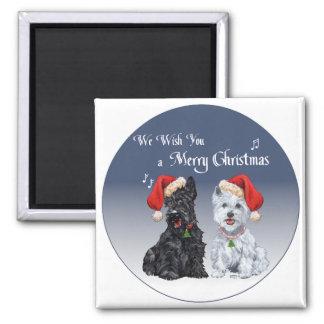 Scottie & Westie Christmas Carols Magnets