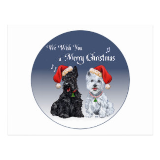 Scottie & Westie Christmas Carols Postcard