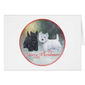Scottie Westie  Christmas Greeting Card