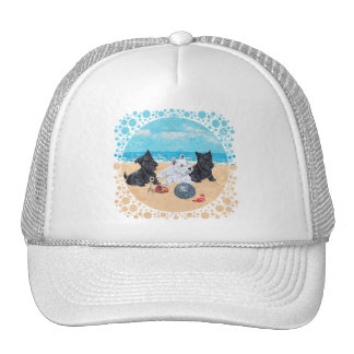 Scottie & Westie Pups at the Beach Hats