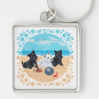 Scottie & Westie Pups at the Beach Silver-Colored Square Key Ring