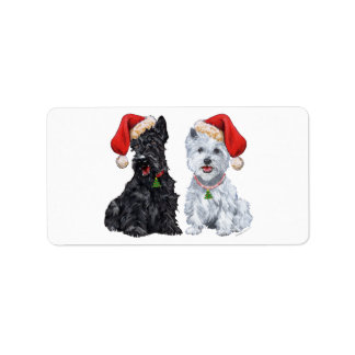 Scottie & Westie Santa Stickers! Address Label