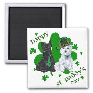 Scottie & Westie St. Paddy's Day Square Magnet
