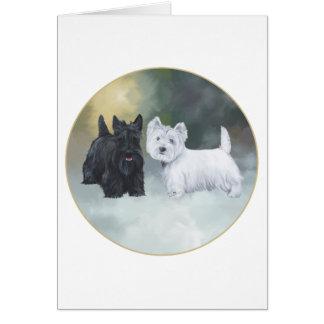 Scottie Westie Wintertime Greeting Card