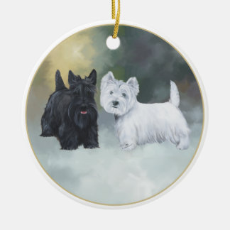 Scottie Westie Wintertime Christmas Ornament