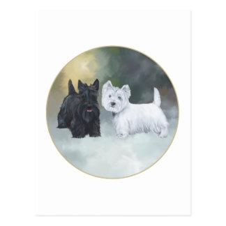 Scottie Westie Wintertime Postcard