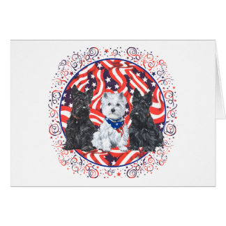 Scotties and a Westie Patriotic Greeting Card