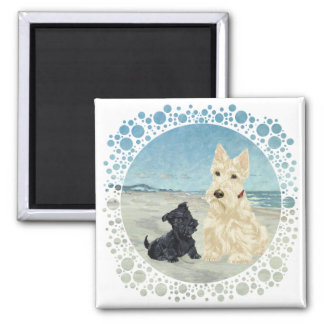 Scotties at the Beach, Wheaten & Black Pup Square Magnet