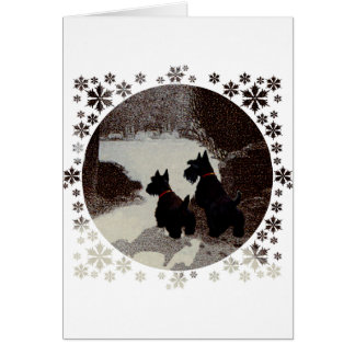 Scotties on Surreal Winter Night Card