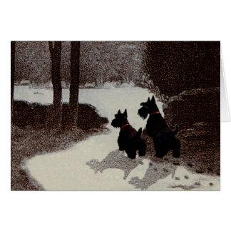 Scotties on Surreal Winter Night Card