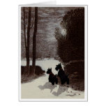 Scotties on Surreal Winter Night Greeting Card