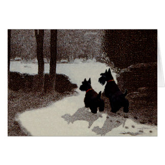 Scotties on Surreal Winter Night Greeting Card